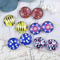 10pcs 12mm MGC203 Handmade Photo Glass Cabochon Pattern Dot Flower