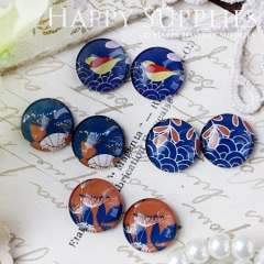 8pcs 12mm MGC89 Handmade Photo Glass Cabochon Bird Blue Flower