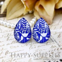 4pcs 18x25mm Blue Leaf Handmade Photo Teardrop Glass Cabochon or Resin Charm TD325