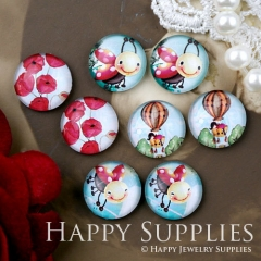 8pcs 12mm MGC178 Handmade Photo Glass Cabochon Flower Parachute Bee