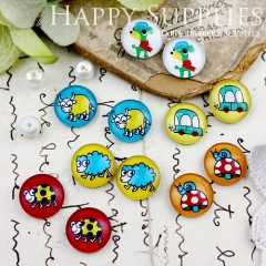 12pcs 12mm MGC145 Handmade Photo Glass Cabochon Insect Cattle Sheep Dog Car