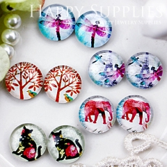 10pcs 12mm MGC70 Handmade Photo Glass Cabochon Tree Cat Dragonfly Elephant Tower