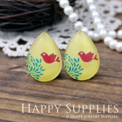 4pcs 18x25mm Bird Handmade Photo Teardrop Glass Cabochon or Resin Charm TD112