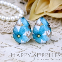 4pcs 18x25mm Blue Flower Handmade Photo Teardrop Glass Cabochon or Resin Charm TD324