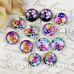 12pcs 12mm MGC197 Handmade Photo Glass Cabochon Flower