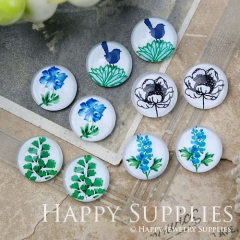 10pcs 12mm MGC185 Handmade Photo Glass Cabochon Flower Bird Leaf