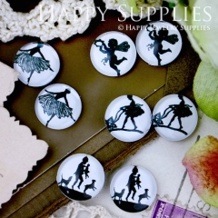 8pcs 12mm MGC46 Handmade Photo Glass Cabochon Dancer Ballet Angle Girl Mother Baby Dog