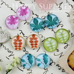 10pcs 12mm MGC122 Handmade Photo Glass Cabochon Leaf