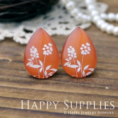 4pcs 18x25mm Flower Handmade Photo Teardrop Glass Cabochon or Resin Charm TD107