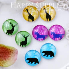 8pcs 12mm MGC95 Handmade Photo Glass Cabochon Animal Deer Horse Bird Bear Giraffe