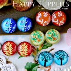 10pcs 12mm MGC55 Handmade Photo Glass Cabochon Leaf Tree Flower