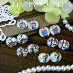 12pcs 12mm MGC38 Handmade Photo Glass Cabochon Rabbit Girl Doll Alice