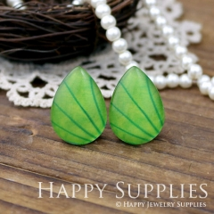 4pcs 18x25mm Green Handmade Photo Teardrop Glass Cabochon or Resin Charm TD101
