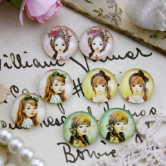 8pcs 12mm MGC94 Handmade Photo Glass Cabochon Girl