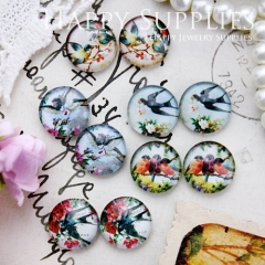 10pcs 12mm MGC96 Handmade Photo Glass Cabochon Bird