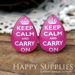 4pcs 18x25mm Keep Calm and Carry On Handmade Photo Teardrop Glass Cabochon or Resin Charm TD073