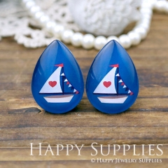 4pcs 18x25mm Boat Handmade Photo Teardrop Glass Cabochon or Resin Charm TD204