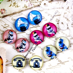 10pcs 12mm MGC86 Handmade Photo Glass Cabochon Telephone Bird