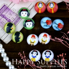 12pcs 12mm MGC53 Handmade Photo Glass Cabochon Red Apple Snow White Witch Santa Claus