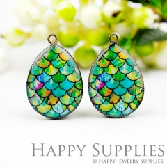 4pcs 18x25mm Pattern Handmade Photo Teardrop Glass Cabochon or Resin Charm TD253
