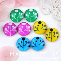 8pcs 12mm MGC92 Handmade Photo Glass Cabochon Flower
