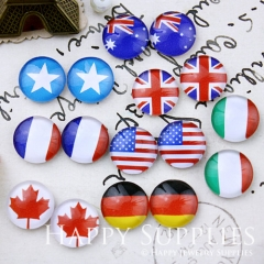 16pcs 12mm MGC105 Handmade Photo Glass Cabochon National flag