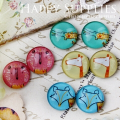 8pcs 12mm MGC82 Handmade Photo Glass Cabochon Animal
