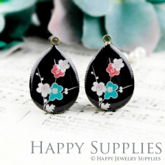 4pcs 18x25mm Flower Handmade Photo Teardrop Glass Cabochon or Resin Charm TD251