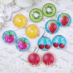 12pcs 12mm MGC177 Handmade Photo Glass Cabochon Fruits Cherry Orange Grape Strawberry Watermelon Kiwi