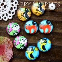 8pcs 12mm MGC107 Handmade Photo Glass Cabochon Bird Fox Owl Monkey