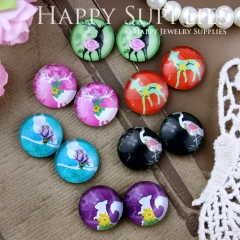 12pcs 12mm MGC98 Handmade Photo Glass Cabochon Animal Deer Bird Crane Squirrel