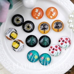 14pcs 12mm MGC175 Handmade Photo Glass Cabochon Flower