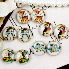 10pcs 12mm MGC73 Handmade Photo Glass Cabochon Cat Bird Deer Parrot