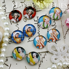 10pcs 12mm MGC114 Handmade Photo Glass Cabochon Woman Girl