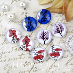 8pcs 12mm MGC198 Handmade Photo Glass Cabochon Plant Flower Tree