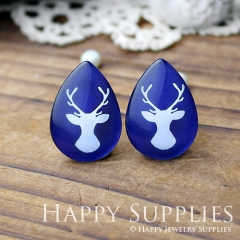 4pcs 18x25mm Deer Handmade Photo Teardrop Glass Cabochon or Resin Charm TD042