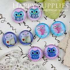 8pcs 12mm MGC125 Handmade Photo Glass Cabochon Owl