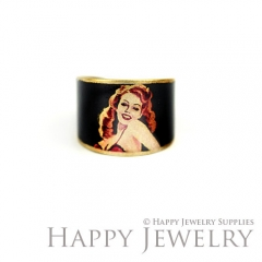 1pcs Woman Handmade Photo Brass Ring PR053