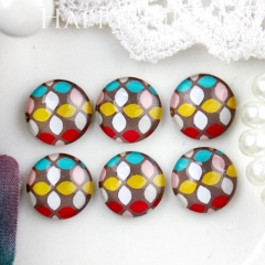 10pcs 12mm Geometric Colorful Handmade Photo Glass Cabochon GC12-829