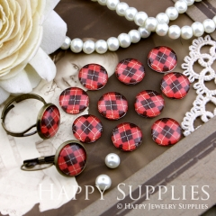 10pcs 12mm Red Black plaid Handmade Photo Glass Cabochon GC12-141