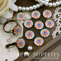 10pcs 12mm Flower Handmade Photo Glass Cabochon GC12-152