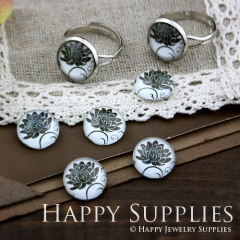 10pcs 12mm Flower Handmade Photo Glass Cabochon GC12-113