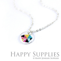 6pcs Color pattern 925 Silver Plated Brass Charm Earring Necklace SY044