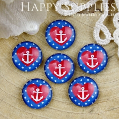 10pcs 12mm Heart Anchor Handmade Photo Glass Cabochon GC12-802