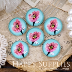 10pcs 12mm Flower Handmade Photo Glass Cabochon GC12-1065