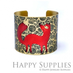 1pcs Fox Handmade Photo Brass Cuff Bracelet PBC115