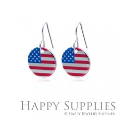 6pcs American flag 925 Silver Plated Brass Charm Earring Necklace SY114