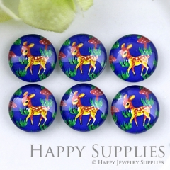 10pcs 12mm Blue Deer Handmade Photo Glass Cabochon GC12-1199
