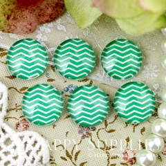 10pcs 12mm Green curved lines Handmade Photo Glass Cabochon GC12-341