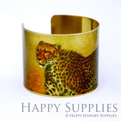 1pcs Tiger Leopard Handmade Photo Brass Cuff Bracelet PBC030